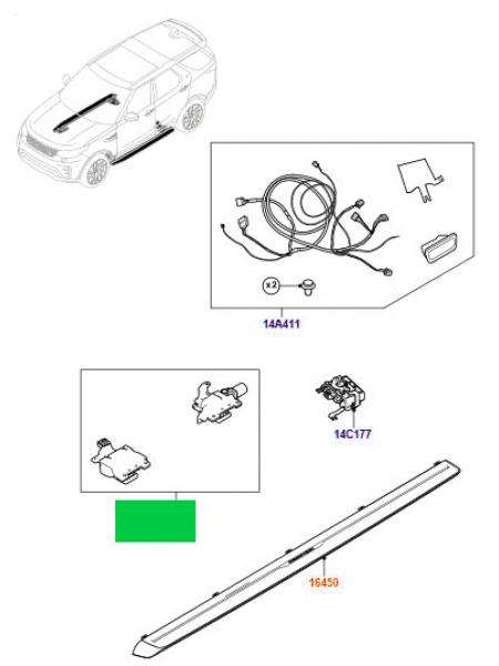 Комплект кронштейнов внешних подножек с электроприводом раскрывания для Land Rover Discovery 5 2017 (левая сторона)