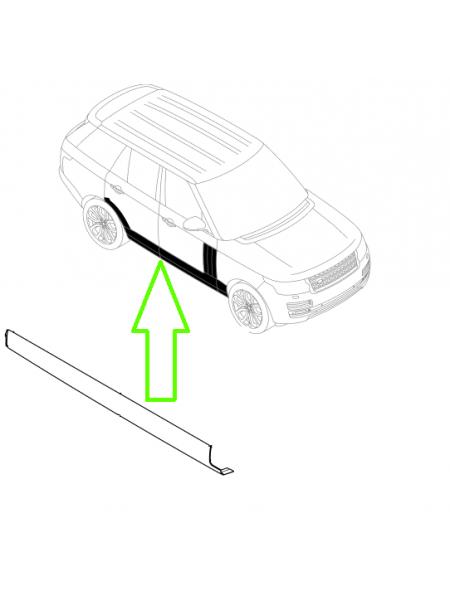 Нижняя RH (правая) накладка порога (молдинг) для Land Rover Discovery 5 2017