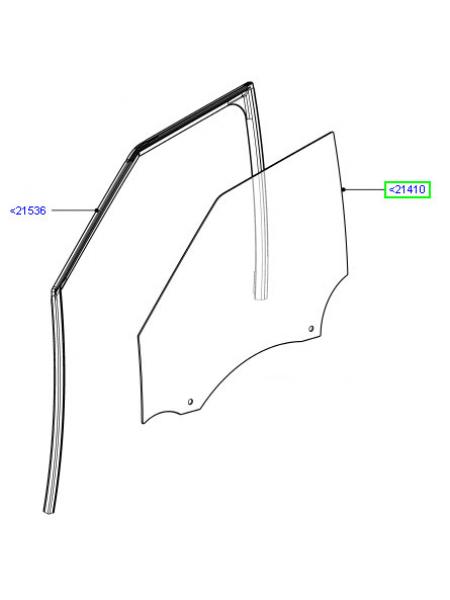 Боковое переднее левое стекло для Range Rover Evoque 2015