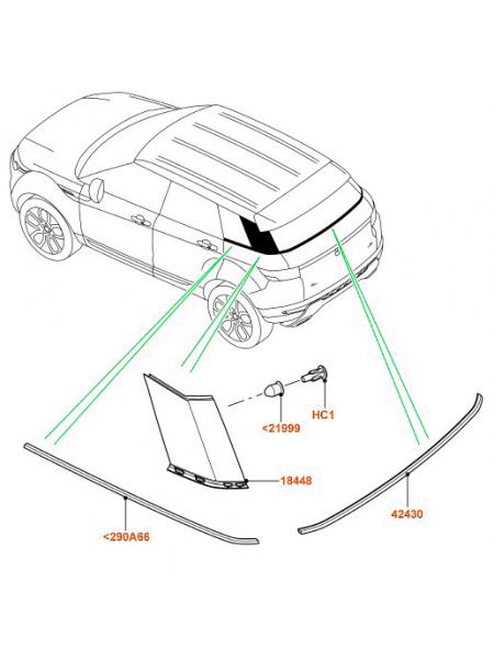 Элемент отделки - задний поручень для Range Rover Evoque 2015