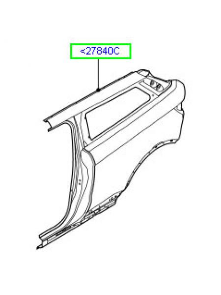Левая боковая панель кузова для Range Rover Evoque 2015 (задняя часть)