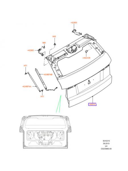 Дверь багажника для Range Rover Evoque 2015
