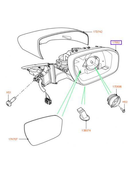 Зеркало заднего вида для Range Rover Evoque 2015