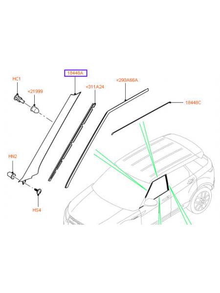 Внешняя отделка передней стойки правой передней двери для Range Rover Evoque 2015