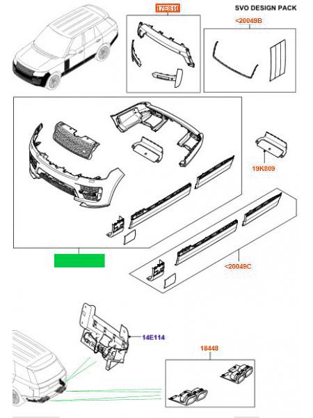 Комплект SVO Pack для Range Rover L405 (без боковых парктроников)