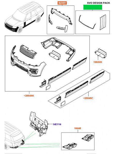 Комплект жабры + окантовка решетки радиатора Atlas для Range Rover L405