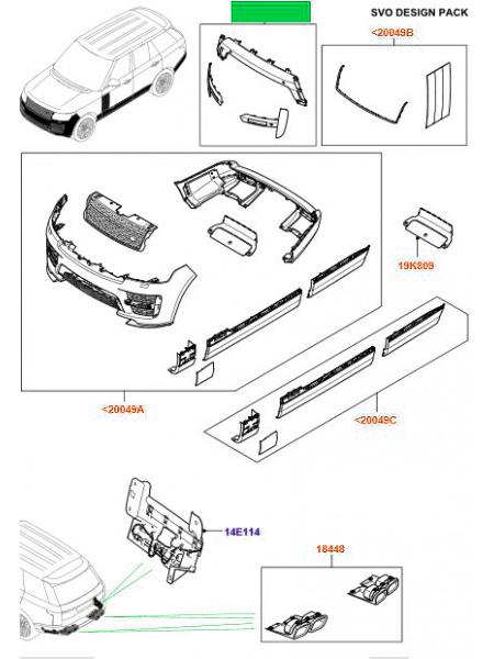 Комплект вставок переднего бампера для Range Rover L405