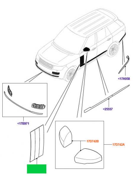 Молдинги передних дверей для Range Rover L405