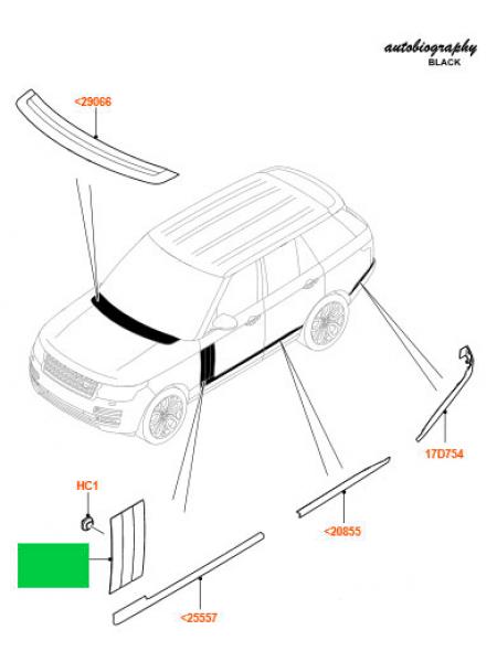 Молдинг правой передней двери Atlas для Range Rover L405 (с хромированными вставками)