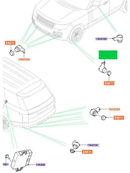 Передний боковой парктроник для Range Rover L405