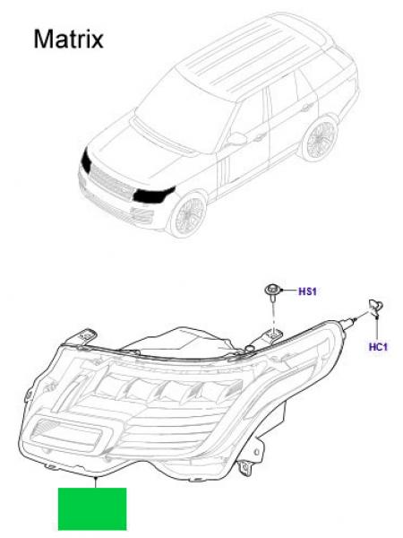 Левая светодиодная фара Matrix для Range Rover L405