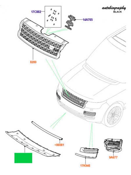 Крышка-заглушка буксировочной проушины переднего бампера для Range Rover L405