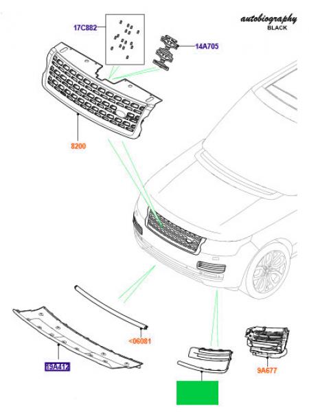 Левая решетка переднего бампера для Range Rover L405