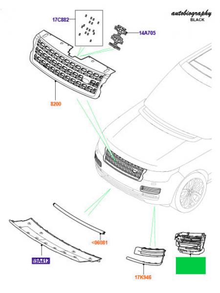 Левый дефлектор переднего бампера для Range Rover L405