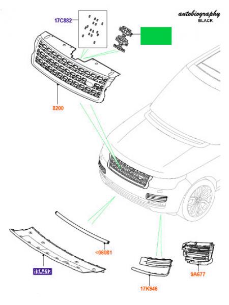 Кронштейн решетки радиатора Autobiography Black для Range Rover L405