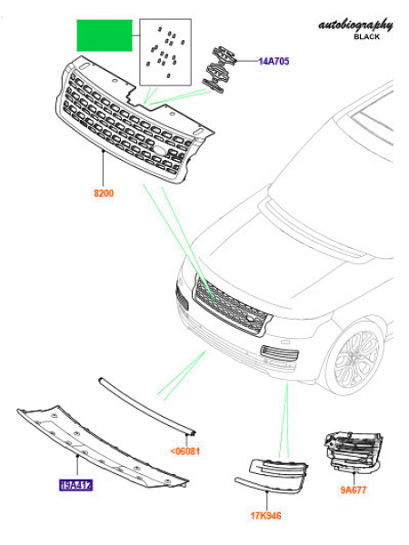 Комплект изоляторов решетки радиатора для Range Rover L405